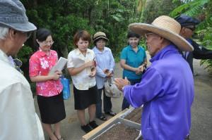 播種作業を学ぶ里親の皆さん。右は講師の平良耕次郎さん=28日、市みどり推進課育苗ハウス