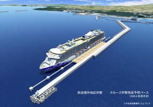 クルーズ船受け入れ岸壁の完成イメージ図(提供=平良港湾事務所、エム・テック)