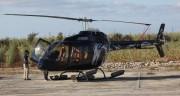 昨年12月に子供たちを体験搭乗させたヘリ=オーシャンズリゾート