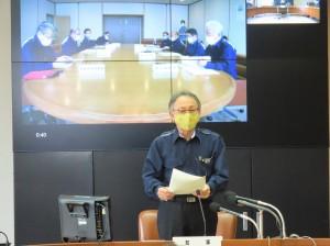 台風9号に係る災害対策本部会議の冒頭、復旧への協力を呼び掛ける玉城デニー知事=2日、県庁