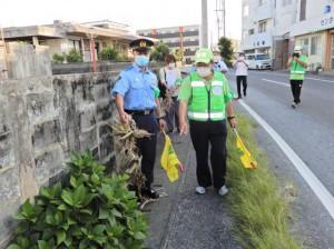 通学路の歩道に生い茂っている雑草の状況などを確認した安全点検=24日、東小周辺道路